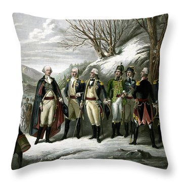 Washington And His Generals  Throw Pillow
