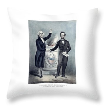 Washington And Lincoln Throw Pillow by War Is Hell Store