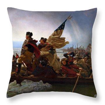 Washington Crossing The Delaware Painting - Emanuel Gottlieb Leutze Throw Pillow