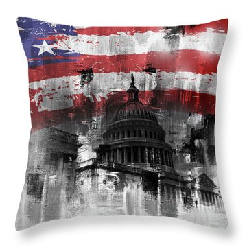 Washington Dc Building 01a Throw Pillow by Gull G