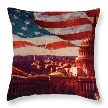 Washington Dc Building 76h Throw Pillow by Gull G