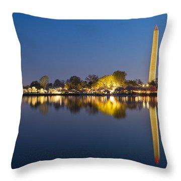 Washington Dc Dawn Monument Throw Pillow by Nicolas Raymond