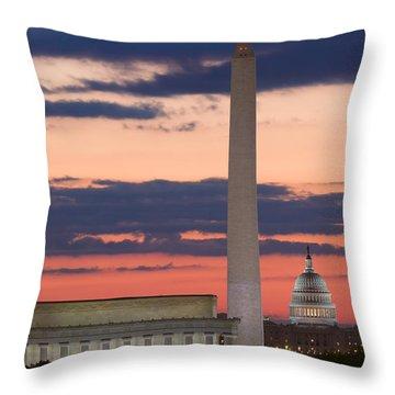 Washington Dc Landmarks At Sunrise II Throw Pillow