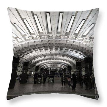Washington Dc Metro Metro Center Stop Throw Pillow by Art Whitton
