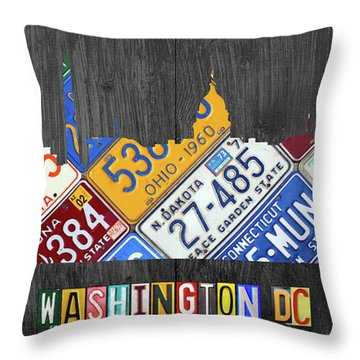 Washington Dc Skyline Recycled Vintage License Plate Art Throw Pillow by Design Turnpike