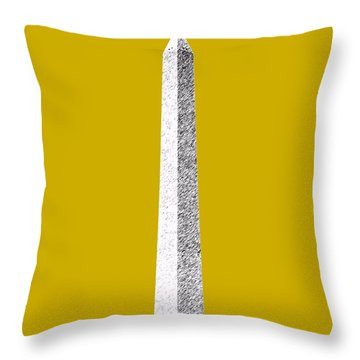 Washington Dc Skyline Washington Monument - Gold Throw Pillow