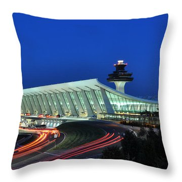 Washington Dulles International Airport At Dusk Throw Pillow