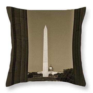 Washington Monument And Capitol #4 Throw Pillow