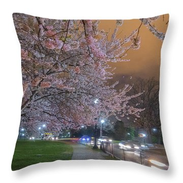 Washington Monument And Cherry Blossom Throw Pillow