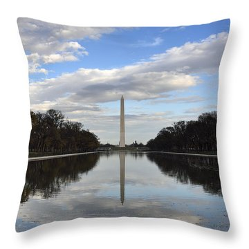 Washington Monument And Reflecting Pool Throw Pillow