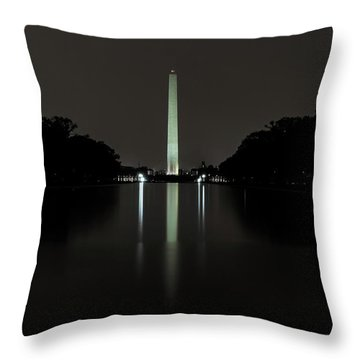 Throw Pillow featuring the photograph Washington Monument At Night by Ed Clark