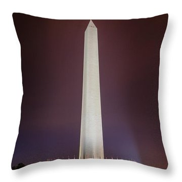 Washington Monument At Night Throw Pillow