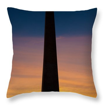 Washington Monument At Sunset Throw Pillow