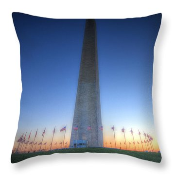 Throw Pillow featuring the photograph Washington Monument At Sunset by Shelley Neff