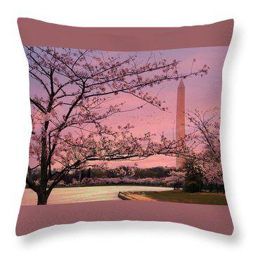 Throw Pillow featuring the photograph Washington Monument Cherry Blossom Festival by Shelley Neff