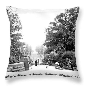 Washington Monument Grounds Baltimore 1900 Vintage Photograph Throw Pillow