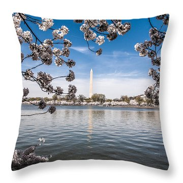 Washington Monument In Bloom Throw Pillow