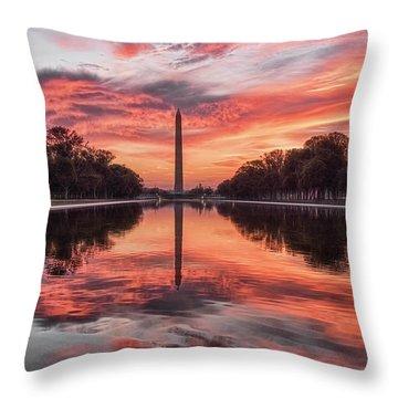 Washington Monument Sunrise Throw Pillow