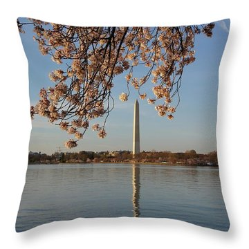 Washington Monument With Cherry Blossoms Throw Pillow by Megan Cohen