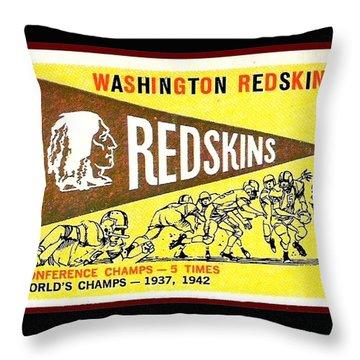 Washington Redskins 1959 Pennant Card Throw Pillow by Paul Van Scott