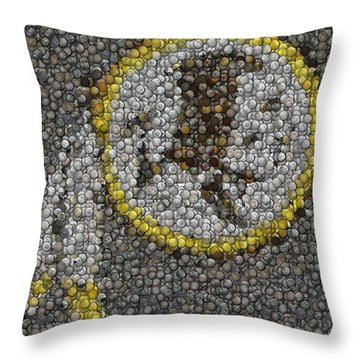 Throw Pillow featuring the mixed media Washington Redskins Coins Mosaic by Paul Van Scott
