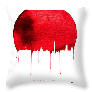 Washington Skyline Red Throw Pillow by Naxart Studio
