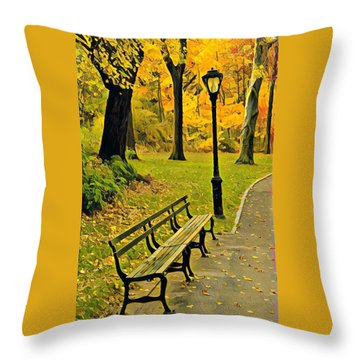 Washington Square Bench Throw Pillow