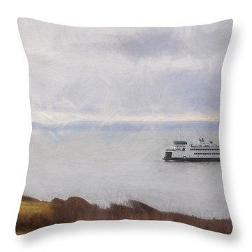 Washington State Ferry Approaching Whidbey Island Throw Pillow