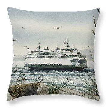 Washington State Ferry Throw Pillow by James Williamson