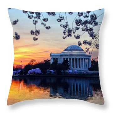 Washington Sunrise Throw Pillow by Mitch Cat
