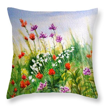 Washington Wildflowers Throw Pillow