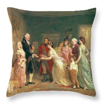 Washingtons Birthday Throw Pillow by Jean Leon Jerome Ferris