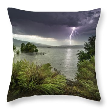 Washoe Lake Lightning Throw Pillow