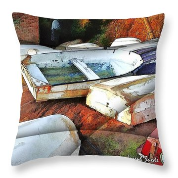 Wat-0012 Tender Boats Throw Pillow