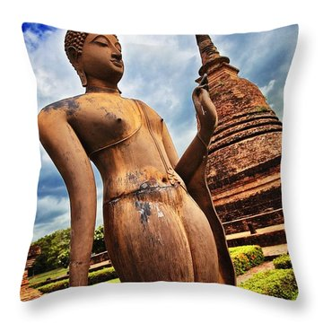 Wat Sra Sri In Sukhothai Thailand Southeast Asia Throw Pillow