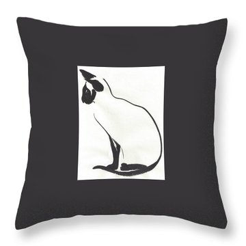 Siamese Silhouette  Throw Pillow