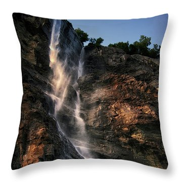 Geirangerfjord Waterfall Throw Pillow by Jim Hill