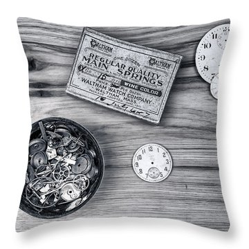 Watch Parts On Wood Still Life Throw Pillow