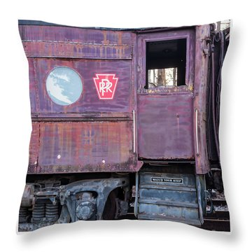 Watch Your Step Vintage Railroad Car Throw Pillow by Terry DeLuco