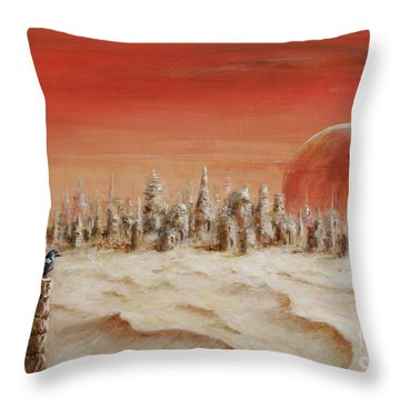 Throw Pillow featuring the painting Watcher by Arturas Slapsys