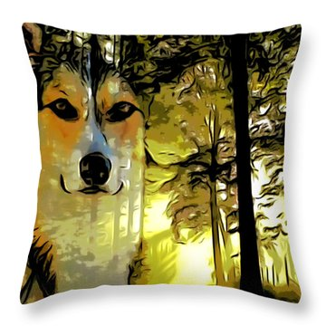Throw Pillow featuring the digital art Watcher Of The Woods by Kathy Kelly