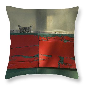 Watchful Cat Throw Pillow