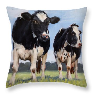 Watchful Cows Mini Painting  Throw Pillow