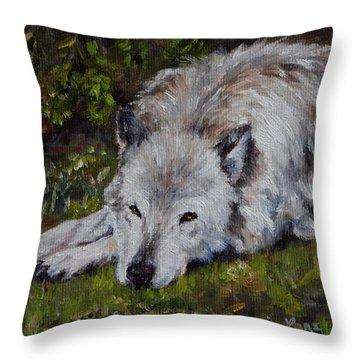 Watchful Rest Throw Pillow by Lori Brackett