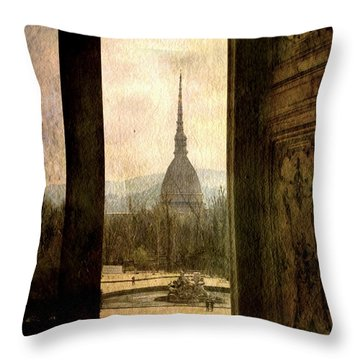 Watching Antonelliana Tower From The Window Throw Pillow