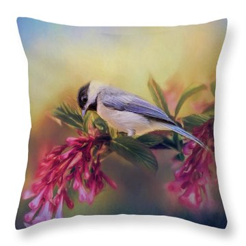 Watching Flowers Bloom Bird Art Throw Pillow