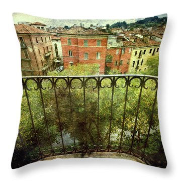 Watching From The Balcony Throw Pillow