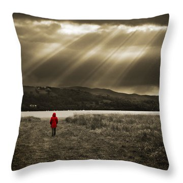 Watching In Red Throw Pillow