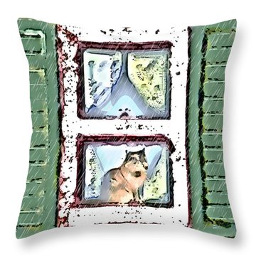 Watching It Rain Throw Pillow by Arline Wagner