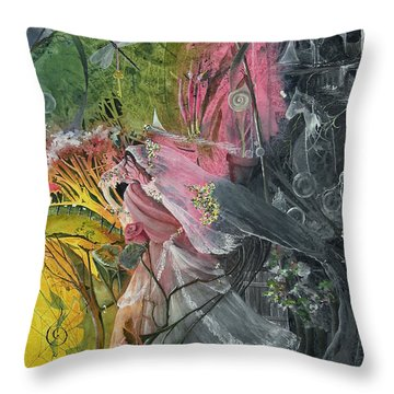 Throw Pillow featuring the painting Watching by Jackie Mueller-Jones